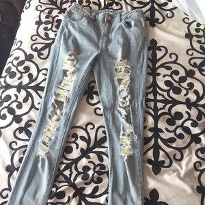 Denim - Miami High Rise Supper Skinny Ripped Jeans